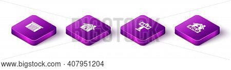 Set Isometric Garage, House Under Protection, Hanging Sign With Sale And Text Sold Icon. Vector