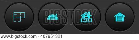 Set House Plan, Warehouse, Hanging Sign With Sale And Garage Icon. Vector