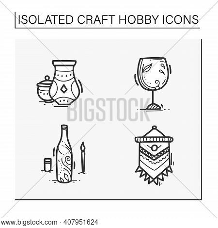 Craft Hobby Set Hand Drawn Icons. Handmade And Homemade Concept. Consist Of Pottery, Macrame, Bottle