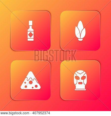 Set Tabasco Sauce, Corn, Nachos And Mexican Wrestler Icon. Vector