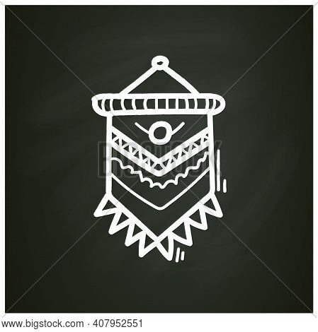 Macrame Chalk Icon. A Form Of Textile-making Using Knotting. Modern Home Element, Hygge Style, Scand