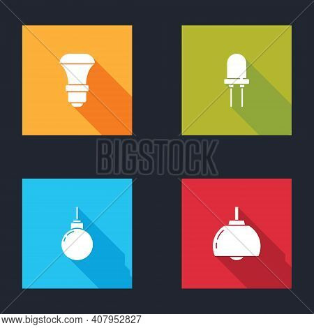 Set Led Light Bulb, Light Emitting Diode, Lamp Hanging And Chandelier Icon. Vector