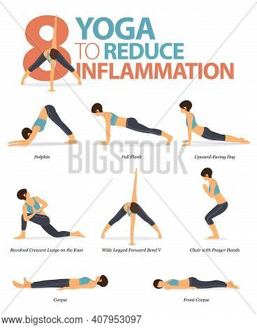 Infographic 8 Yoga Poses For Workout At Home In Concept Of Reduce Inflammation In Flat Design. Women