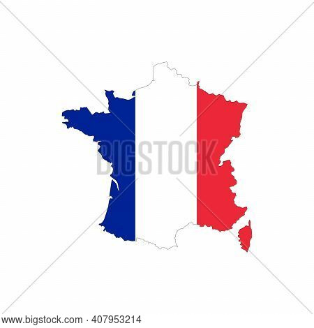 Map Of France. Vector Design Isolated On White Background. Shape Of France Map Filled Up With French