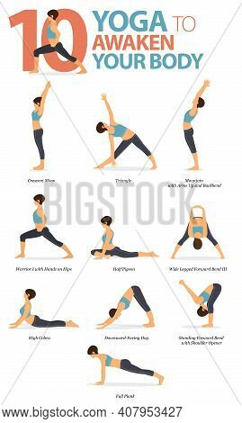 Infographic 10 Yoga Poses For Workout At Home In Concept Of Awaken Your Body In Flat Design. Women E