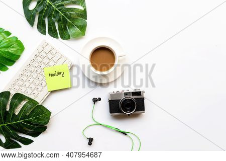 Traveler Accessories And Green Cup Coffee  With Tourism Backpack And Visiting For Planning Trips Tra