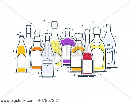Collection Alcoholic Drinks. Group Of Bottles Of Alcohol Standing Nearby. Illustration Isolated. Out