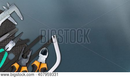 Tools Of Locksmith 3d Composition, Set Isolated On Background Metal Workbench. Hand Metalworking And