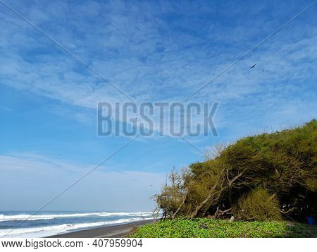 Looking At The Beautiful Beach View In Bantul, Indonesia