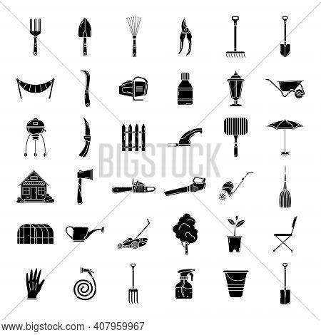 A Set Of Garden Icons, Tools, Recreation. Garden Simple Icons. Logo.