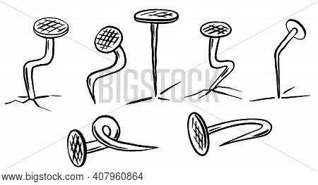 Set Of Old Bent Nails Doole Sketch Vector Illustration Black Silhouettes