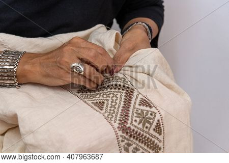 An Embroiderer Makes Needle Lace - A National Tradition In Cyprus