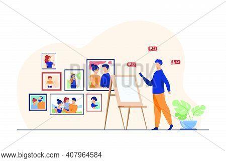 Artist Working In His Studio. Man Painting Portrait, Easel, Gallery Flat Vector Illustration. Creati
