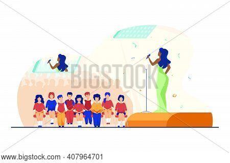 Concert For Schoolchildren. Performer Singing On Stage, Kid In Audience Hall Flat Vector Illustratio