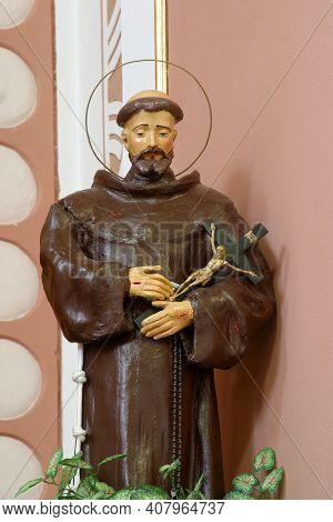 DURMANEC, CROATIA - APRIL 05, 2014: Saint Francis of Assisi, statue in the parish church of Saint Anthony of Padua in Durmanec, Croatia