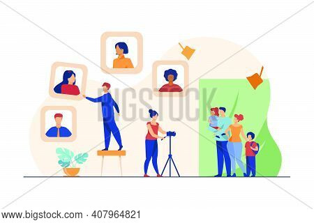 Family Taking Picture At Photographic Studio. Portrait, Camera, Photographer Flat Vector Illustratio