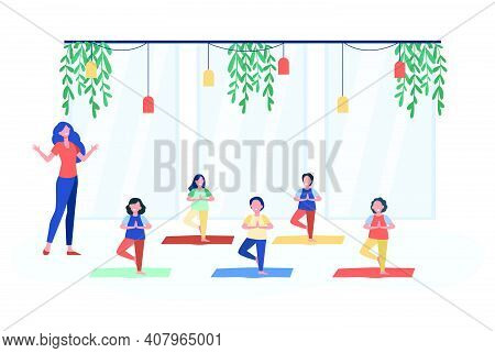 Happy Children Practicing Yoga In Class With Teacher, Standing On Mat In Tree Pose And Smiling. Vect
