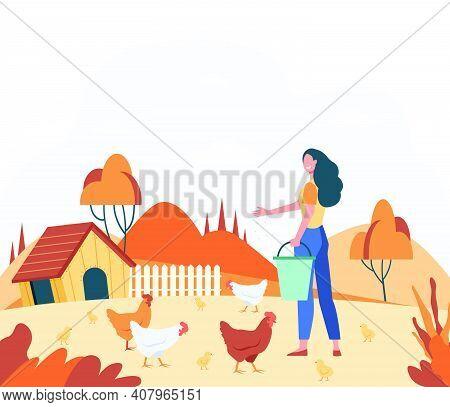 Happy Woman Feeding Domestic Birds Flat Vector Illustration. Cartoon Female Farmer Breeding Hens And