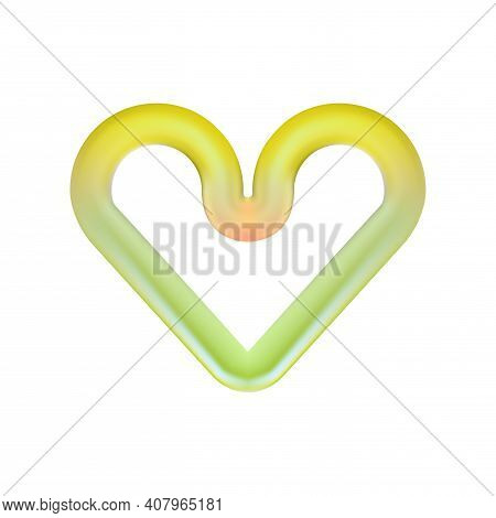 Greenish Heart Icon Isolated On Light Background. 3d Frame. Abstract Rounded Design Element For Vale