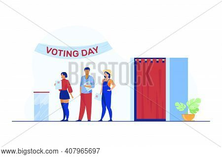 Queue Of People With Paper At Ballot Boxes. Voting Day, Electorate, Poll Flat Vector Illustration. E