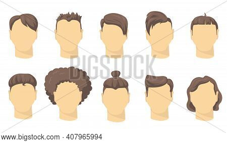 Stylish Different Male Haircut Flat Set For Web Design. Cartoon Man Short Hairstyles For Hipsters Is