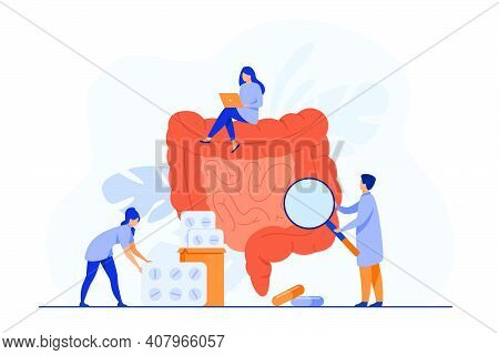 Tiny Doctors Checking And Treating Large Intestine Isolated Flat Vector Illustration. Cartoon Physic