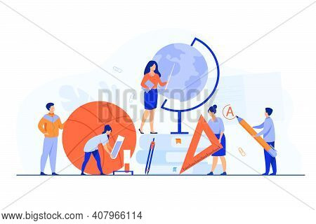 Tiny Teachers With Educational Tools And Stationery Isolated Flat Vector Illustration. Cartoon Teach
