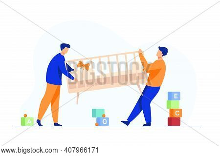 Two Men Carrying New Child Cot. Bassinet, Parent, Newborn Flat Vector Illustration. Furniture And Ch