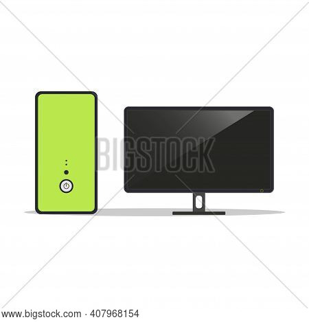 Pc Case With Monitor Isolated On White Background. Pc Symbol. Electronic Gadgets. Vector Illustratio