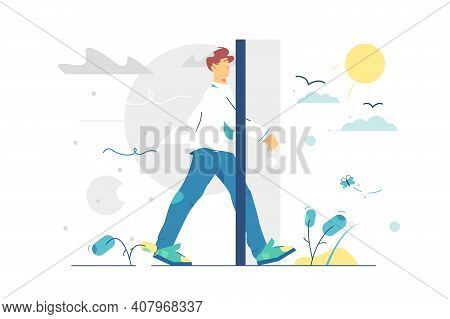 Portal Door To Better Living Vector Illustration. Man Step From Grey And Sad Life To Sunny And Happy