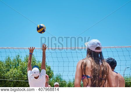 Sharm El Sheikh, Egypt - Jyle 30, 2019: People Playing Beach Volleyball In Hotel