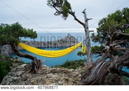 Mountains And Sea Are On Background. Novyi Svit, Crimea, Sudak. Cape Named Kapchik, Sea Is Black Sea