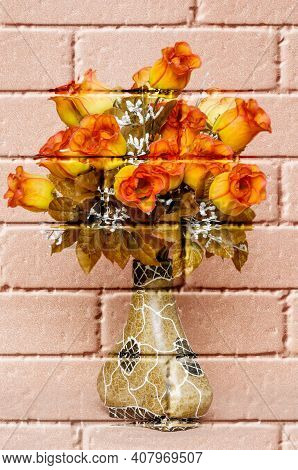 Coloured Roses, Artificial Fabric Flowers On A Blurred Copper-coloured Background, In A Decorative V