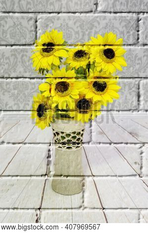 Yellow Sunflowers, Colored Artificial Flowers In A Decorative Vase On The Floor And Wall Background,