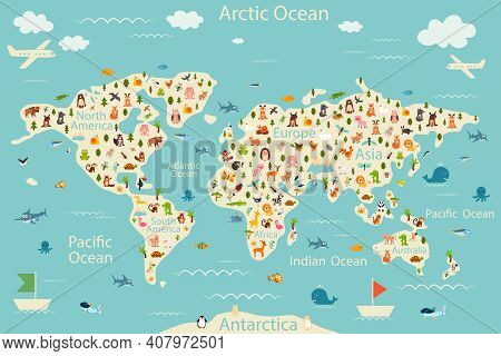 Cartoon World Map With Animals And Trees. Vector Illustration.