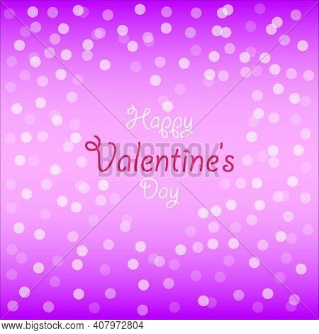 Happy Valentine's Day Vector Design On A Heart Shape With Bokeh Patterns Background. Typography Vale