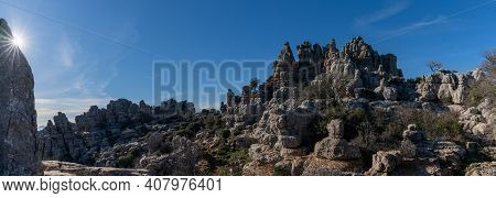 Panorama View Of The El Torcal Nature Reserve In Andalusia With Ist Strange Karst Rock Formations Wi