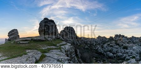 Panorama View Of The El Torcal Nature Reserve In Andalusia With Ist Strange Karst Rock Formations At