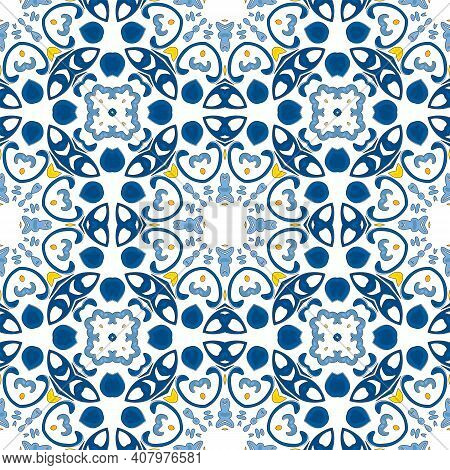 Seamless Pattern Illustration In Traditional Style - Like Portuguese Tiles