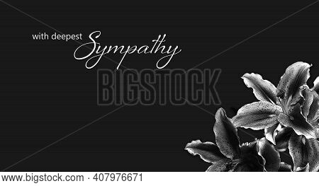 Sympathy card with lily flowers on black background