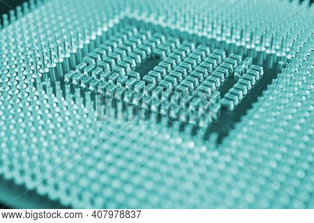 Computer Processor Close-up. Dark Blue Green Or Turquoise Tinted Background. Wallpaper On The Theme