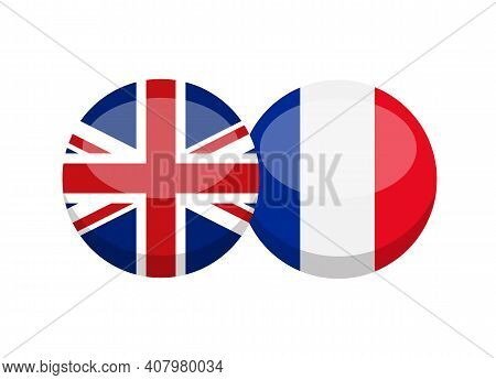 Uk And French Flag Isolated On White Background. English-french Conversation Concept. Learn Language