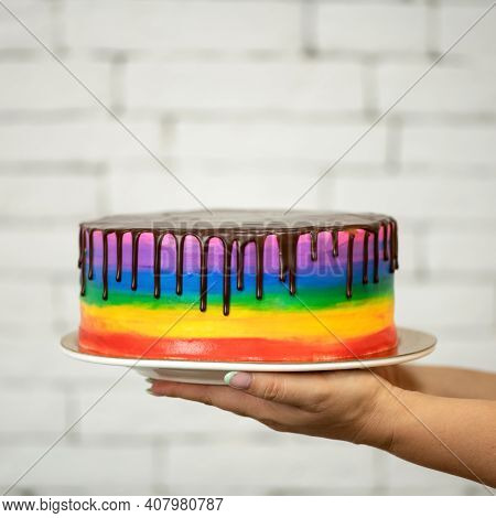Lgbt Style Expression Of Love. Sweet Rainbow. Lgbt Passion. Passionate Rush. Valentines Day Dessert.