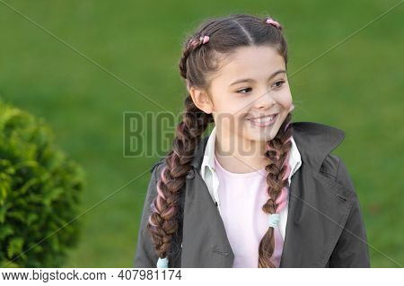 Happy Childrens Day. Parks And Outdoor. Spring Fashion For Little Girl. Happy Child With Thuja. Chil