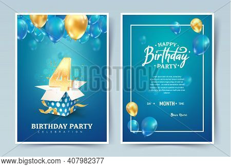 4th Years Birthday Vector Invitation Double Card. Four Years Anniversary Celebration Brochure. Templ