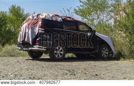 Kazakhstan, Ust-kamenogorsk, July 19, 2020: Toyota Land Cruiser Prado 120. Third Generation (j120: 2