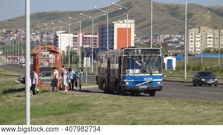 Kazakhstan, Ust-kamenogorsk, July 23, 2020: People At The Bus Stop. People On The Street. Urban Land