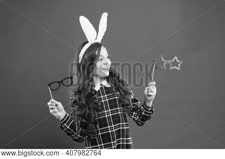 Best Party For Having Fun. Happy Easter. Small Girl Wear Bunny Ears On Easter Day. Happy Child Choos