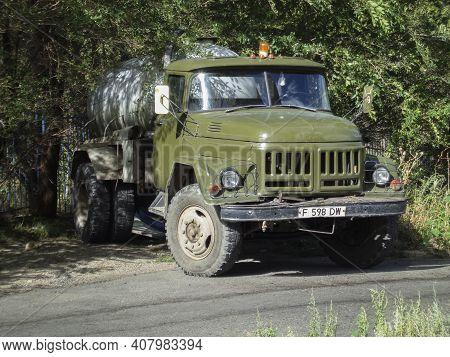 Kazakhstan, Ust-kamenogorsk, August 20, 2020: Zil 130. Sewage Disposal Truck. Sanitary. Old Vintage