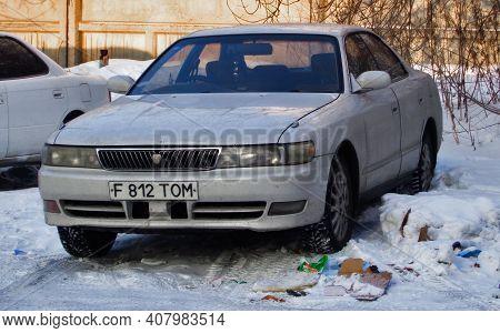 Kazakhstan, Ust-kamenogorsk, January 11, 2020: Toyota Cresta. Mid-size Car. Old Japanese Car.  White